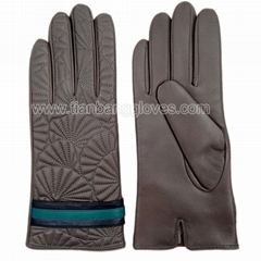 fashion design colorful women's real leather glove with quilting stitching on ba