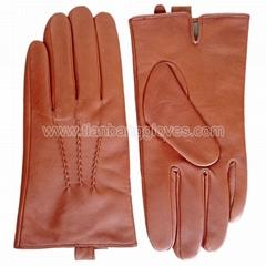 Goatskin men's fashion leather glove in tan color