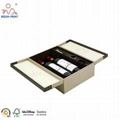 Double Door Open 2 Single Bottle Packaging Red Wine Champagne Cardboard Wine Box