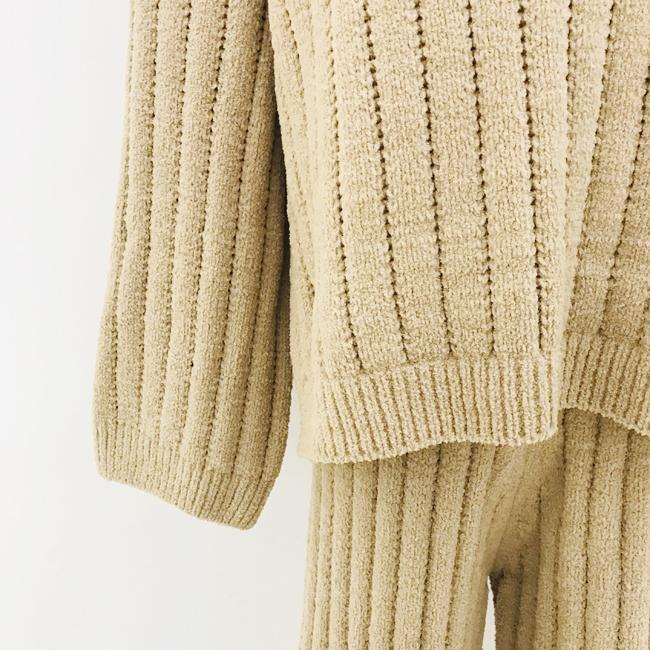 Autumn winter fashion pullover woman crew-neck cashmere sweater trouser suit  4
