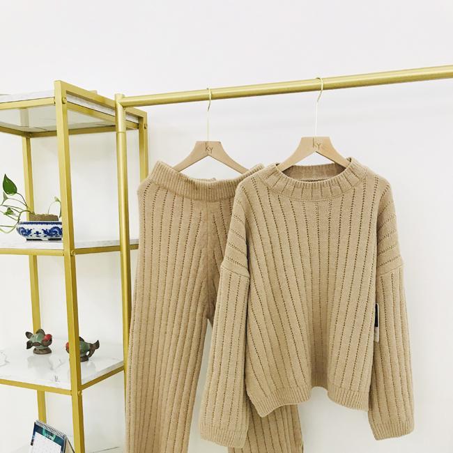 Autumn winter fashion pullover woman crew-neck cashmere sweater trouser suit  1