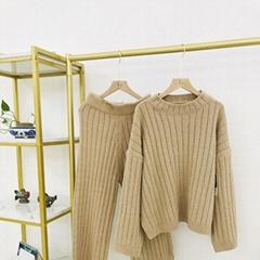 Autumn winter fashion pullover woman crew-neck cashmere sweater trouser suit