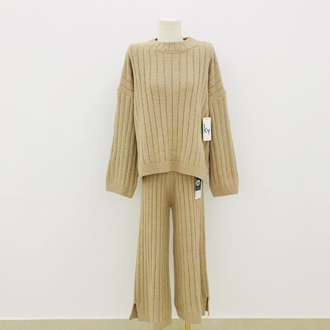 Autumn winter fashion pullover woman crew-neck cashmere sweater trouser suit  2