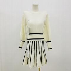 氣質針織女式羊毛連衣裙兩件套