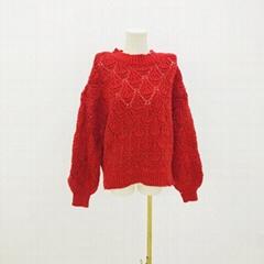 女性時尚冬季菱形圖案圓領長袖毛衣