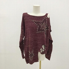 Broken hole sexy hole retro five pointed star embroidered beads women's Pullover