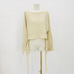 Straight neck front short back long fashion women's knitting Pullover