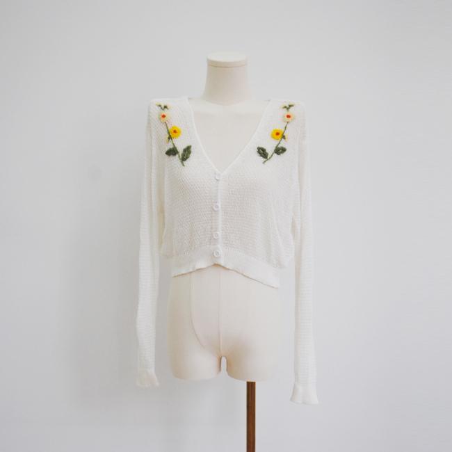 白色v領長袖針織短毛衣女女士 2