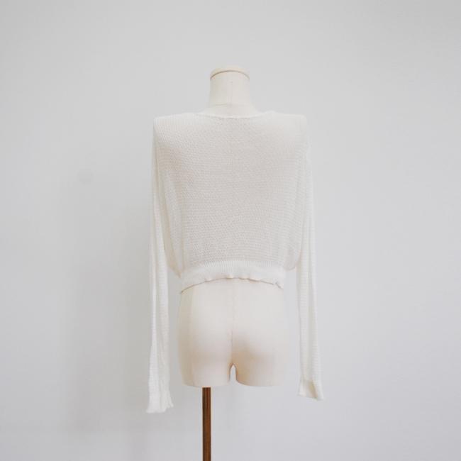 白色v領長袖針織短毛衣女女士 3