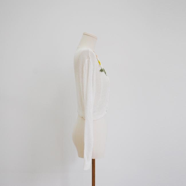 白色v領長袖針織短毛衣女女士 4