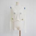 White v-neck long sleeve knitted short