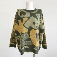 Casual winter crew neck pullcove oversized sweater women