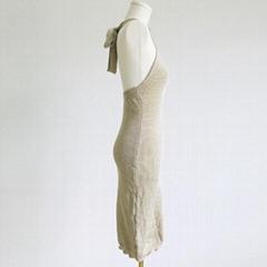 女性休閑溫柔過膝無袖羊毛衫連衣裙
