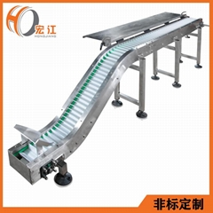 Plastic mesh chain climbing conveyor