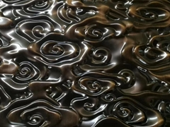 佛山市压花厂家定做 不锈钢镀铜祥云复古板 不锈钢工程定做压花板