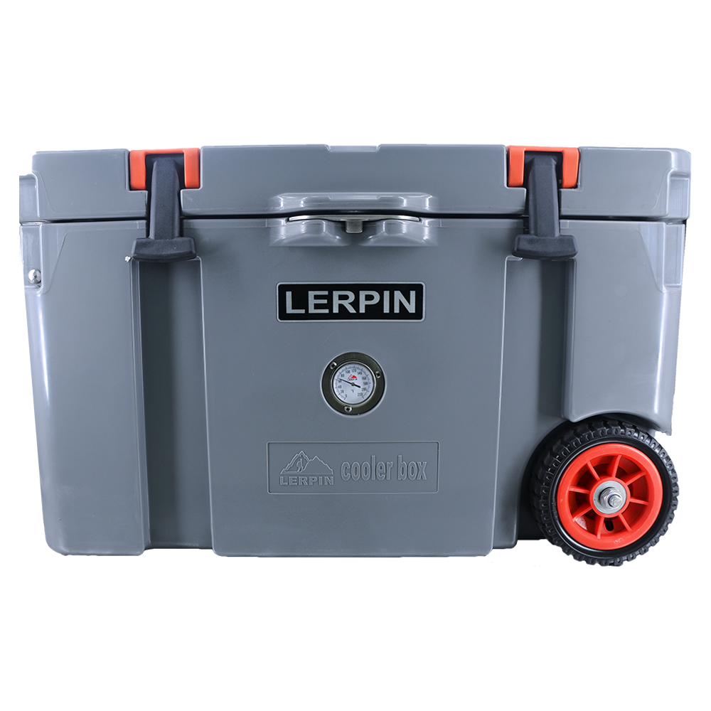 New design 50QT plastic rotomolded cooler box with wheels 1