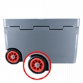 New design 50QT plastic rotomolded cooler box with wheels 3
