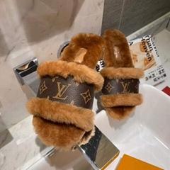 Louis Vuitton Lock It Flat Mule mink fur patent Monogram slides  LV fur slipper  (Hot Product - 1*)