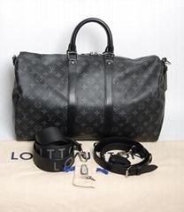 Keepall Monogram Travel Bag Eclipse Shoulder Strap Duffle Handbag