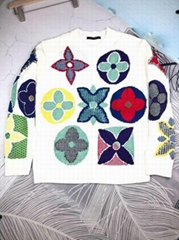 MULTICOLOR MONOGRAM CREWNECK    knitted Flowers Wool Sweater