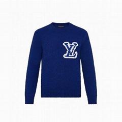 Intarsia Crewneck men blue wool sweaters