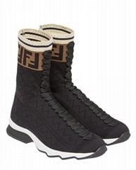 Fendi Women's Black Ff Motif Sneaker Boots Fendi Logo Sock Boots