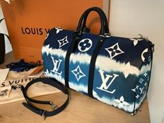 Escale Keepall 50 Duffle Bag M45117 Blue Monogram travel handbag