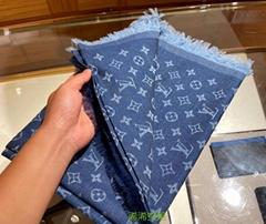 Cotton Stole Scarf Shawl Denim Blue Etole Monogram Gradation New
