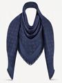 Louis Vuitton Dark Night Blue Monogram LV Logo Silk Wool Wrap Shawl Scarf M72412