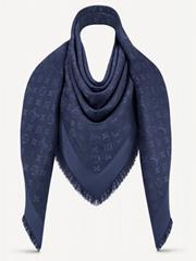 Dark Night Blue Monogram    Logo Silk Wool Wrap Shawl Scarf M72412