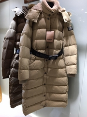 Belted Down filled Puffer Coat Womens Hooded long down coat