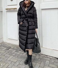 Kington Faux Fur Trim Long Down Coat women long winter coats