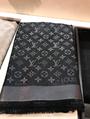Louis Vuitton Black Grey Silver Monogram Shine LV Logo Wrap Shawl Scarf M75123