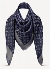 Blue Nuit Si  er Monogram Shine    Logo Wrap Shawl Scarf M73658
