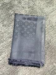 Charcoal Grey Si  er Monogram Shine Logo Wrap Shawl Scarf M75120