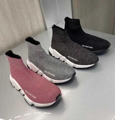 Balenciaga Women Speed Sock Trainer Pink Glitter Runner Sneakers boot shoes