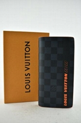 Louis Vuitton Brazza Cobalt Race Damier Blue Black Orange Coin Purse Long Wallet