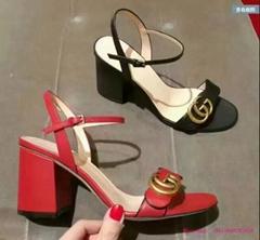 Gucci Marmont Black Leather Gold GG Ankle Strap Block Heel Sandal Mule Pump