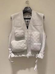 Virgil Abloh's Leather Utility Vest multi-pocket tactical Jacket