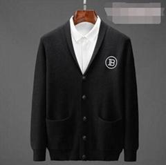 Black Cashmere Logo Cardigan men pocket knit sweater