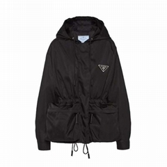 Re-Nylon gabardine blouson jacket       metal triangle logo coat with hood