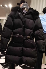 Re-Nylon gabardine down puffer coat with hood       Women belts down coat