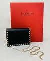 VALENTINO GARAVANI Rockstud Vitello Chain Clutch Shoulder Bag handbag sale