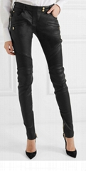 BALMAIN LEATHER PANTS Ribbed Stretch Biker Celebrity Favorite ladies pants jeans