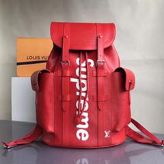 Louis Vuitton x Supreme Christopher Backpack Epi leather men women bag LV cheap