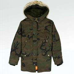 x               Jacquard Denim Parka Jacket Men women brand winter coat