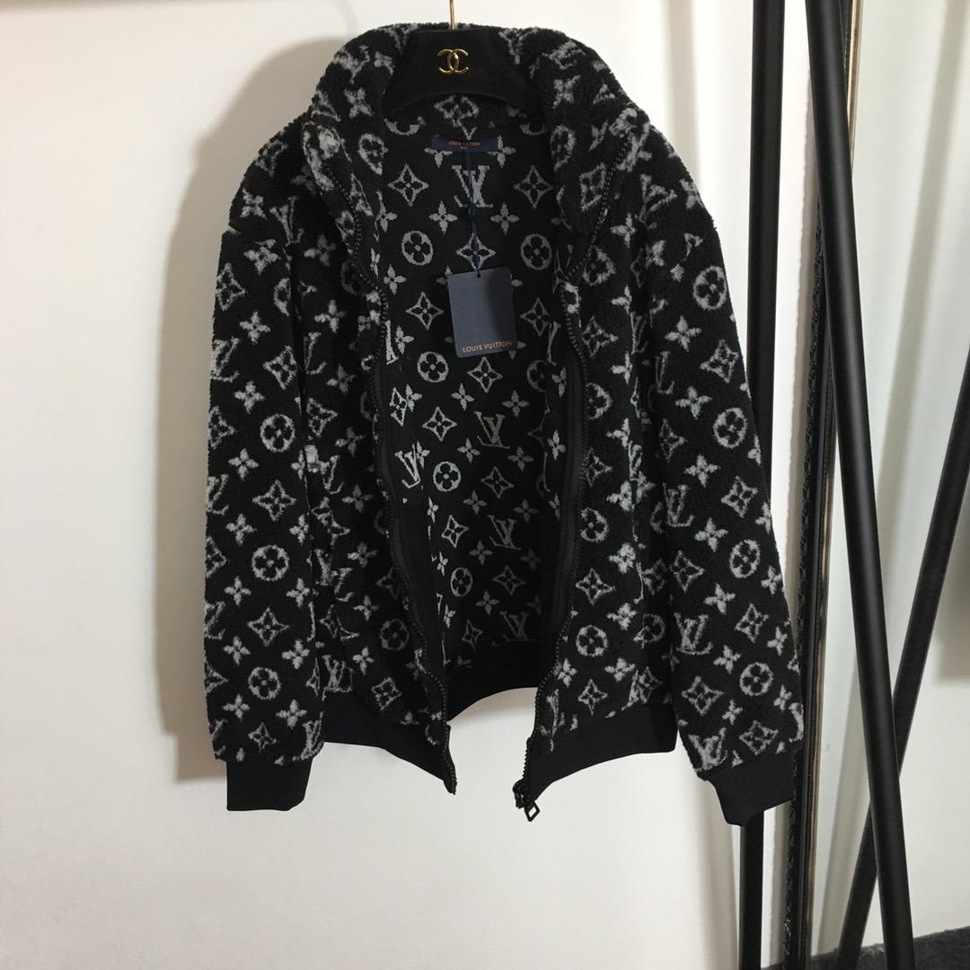 Louis Vuitton Black Monogram Jacquard Fleece Jacket