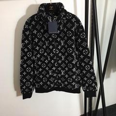 Black Monogram Jacquard Fleece Jacket    zipped coat