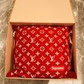 Louis Vuitton x Supreme red Cushion Pillow Monogram Brand New