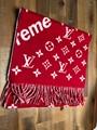 Supreme Louis Vuitton Red Scarf Monogram Cashmere LV shawl Neckerchief Wool red